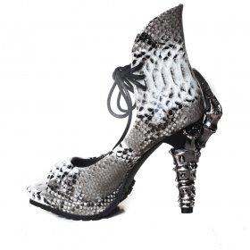【在庫あり】パイソン柄クロウヒールサンダルVAMP|hadesブランド靴通販