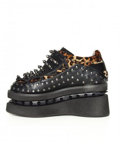 ヒョウ柄とブラックにトゲトゲスタッズがロックな厚底スニーカーOPION|hades靴ブランド通販