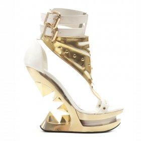 白サンダルにピラミッドヒールSOLARA|hadesブランド靴通販