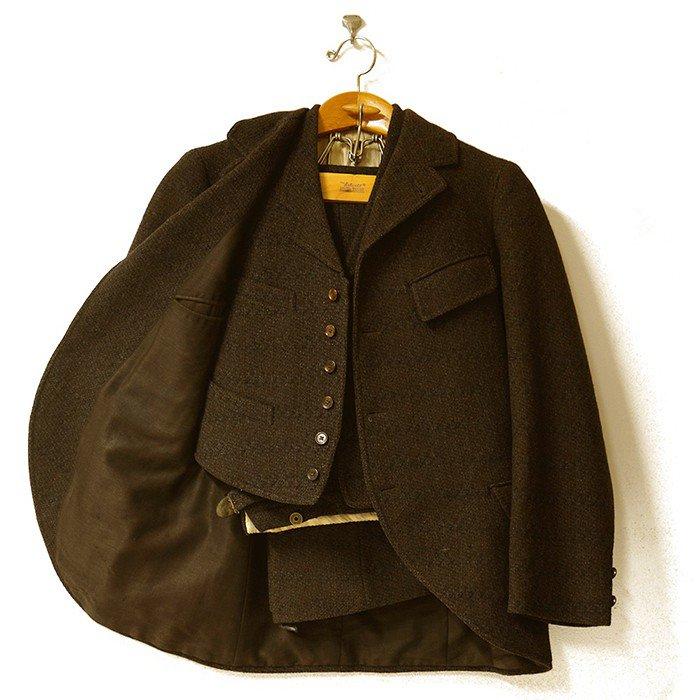Antique-3-Piece-Tweed-Wool-Suit-