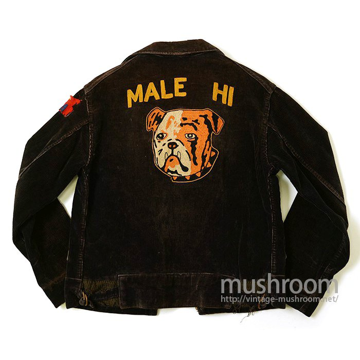 BULLDOG EMBROIDERY CORDUROY SPORTS JACKET
