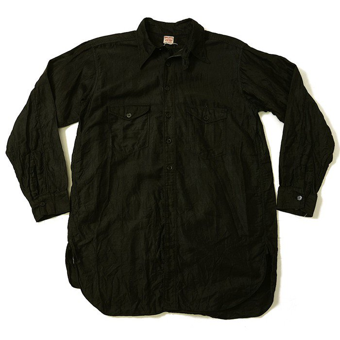 HOME SPECIAL BLACK COTTON SATIN WORK SHIRT