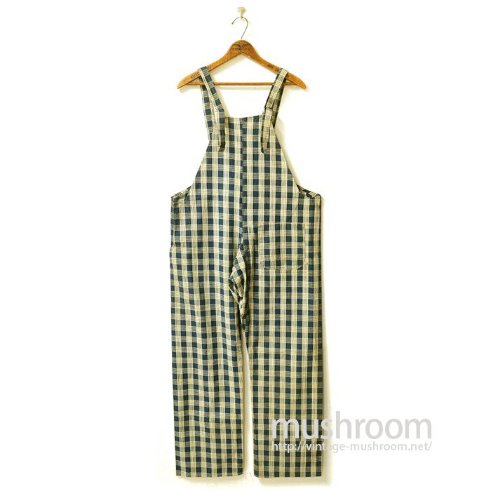 Indigo Blue Striped Check-Pattern Overalls(Deadstock)