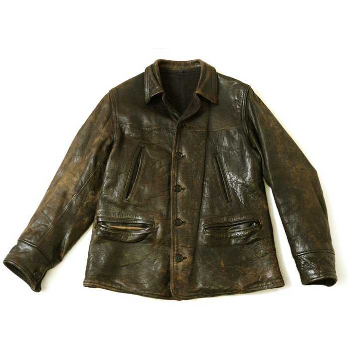 OLD SINGLE BREASTED HORSEHIDE CAR COAT