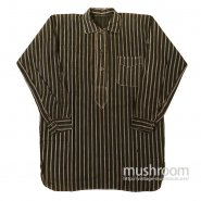 BLACK AND WHITE STRIPE ONE POCKET PULLOVER WORK SHIRT( DEADSTOCK )