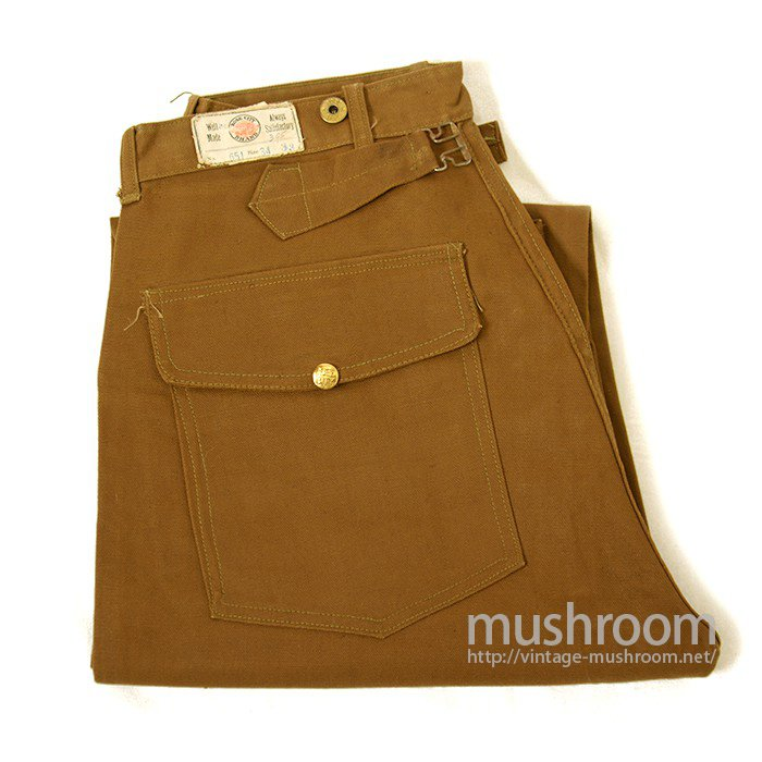 ROSE CITY BROWN DUCK WORK TROUSER With BUCKLE BACK( DEADSTOCK )