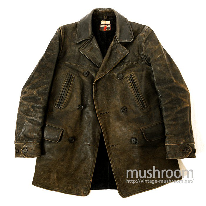 HERCULES DOUBLE BREASTED HORSEHIDE LEATHER CAR COAT