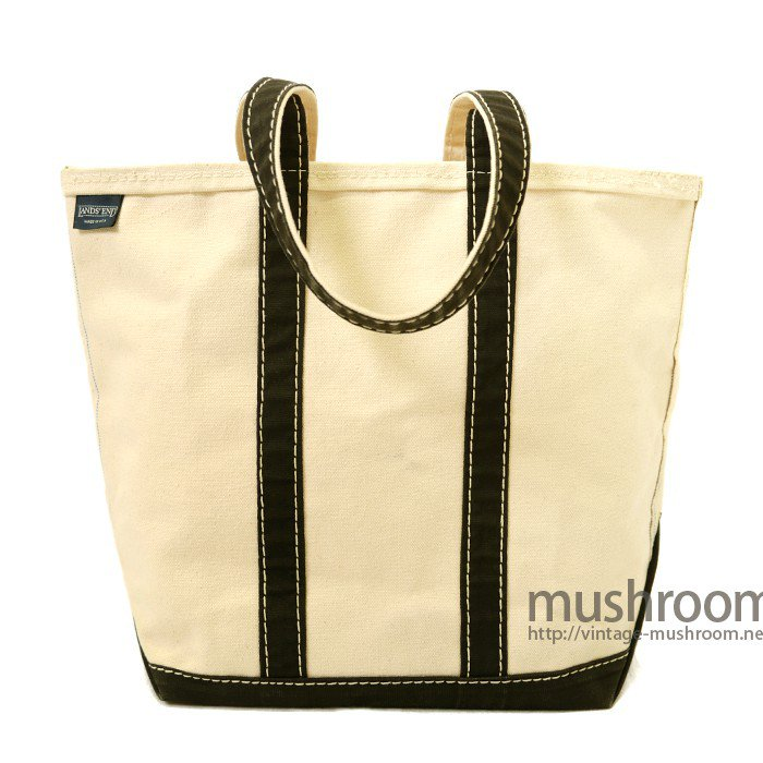 LANDS'END CANVAS TOTE BAG( NATURAL/BLACK)