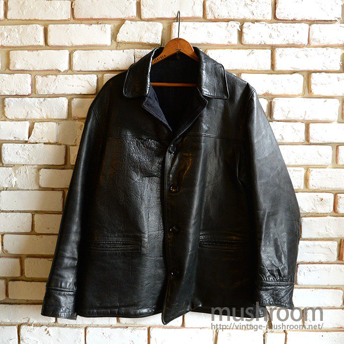 OLD SINGLE BREASTED HORSEHIDE LEATHER CAR COAT