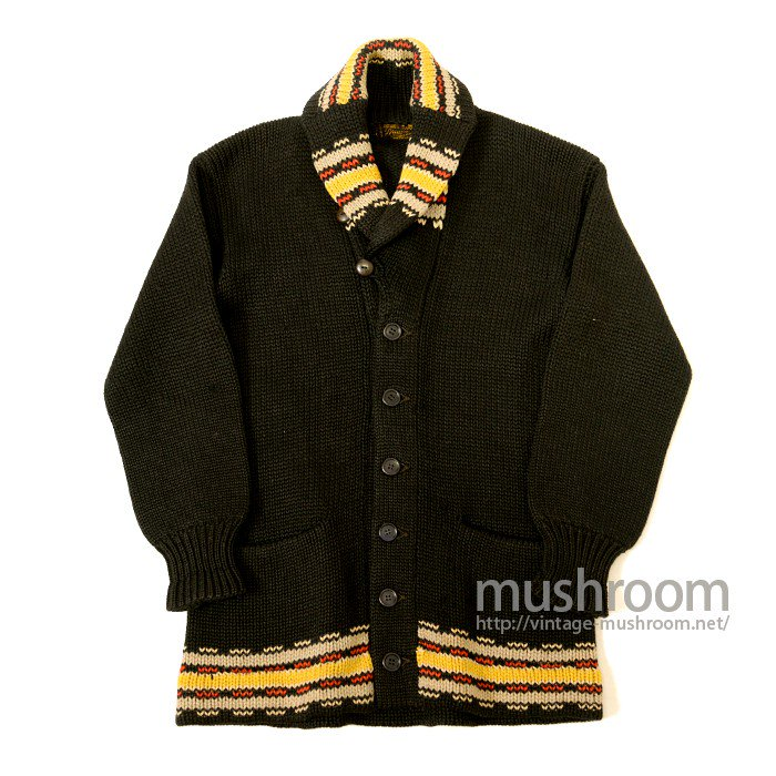 BRADLEY KNIT WEAR  NATIVE STRIPE  BLACK SHAWLCOLLER CARDIGAN