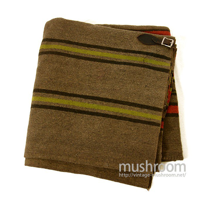 OLD STRIPE HORSE BLANKET WITH LEATHER STRAP