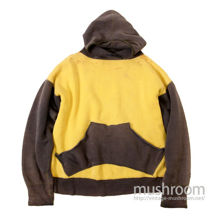 TWO-TONE DOUBLEFACE SWEAT HOODY WITH UNUSUAL POCKET