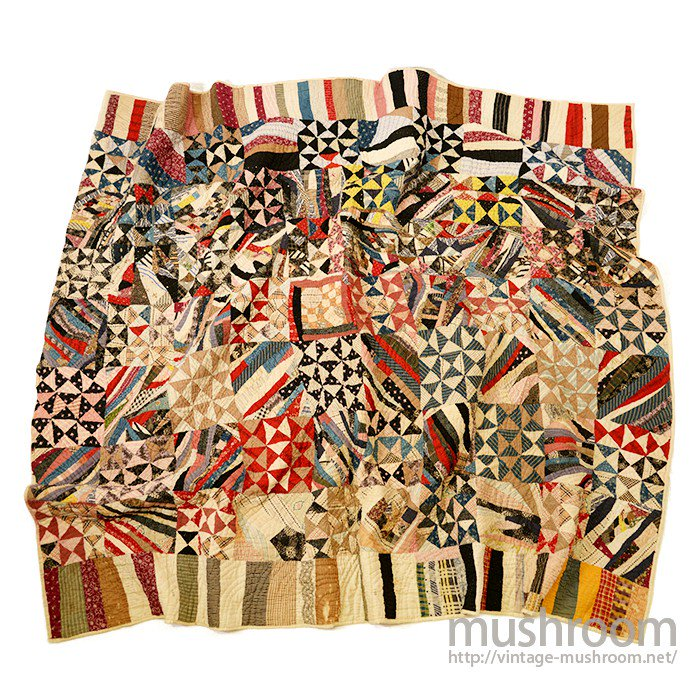 OLD CRAZY PATTERN CALICO PATCHWORK QUILT
