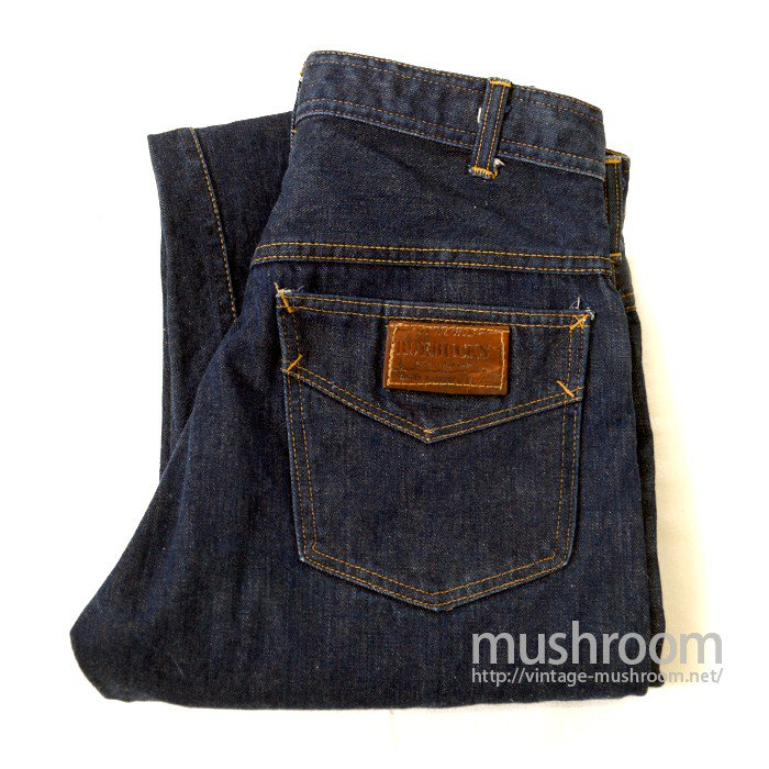 ROEBUCKS 5POCKET JEANS( MINT/LEATHER-PATCH )