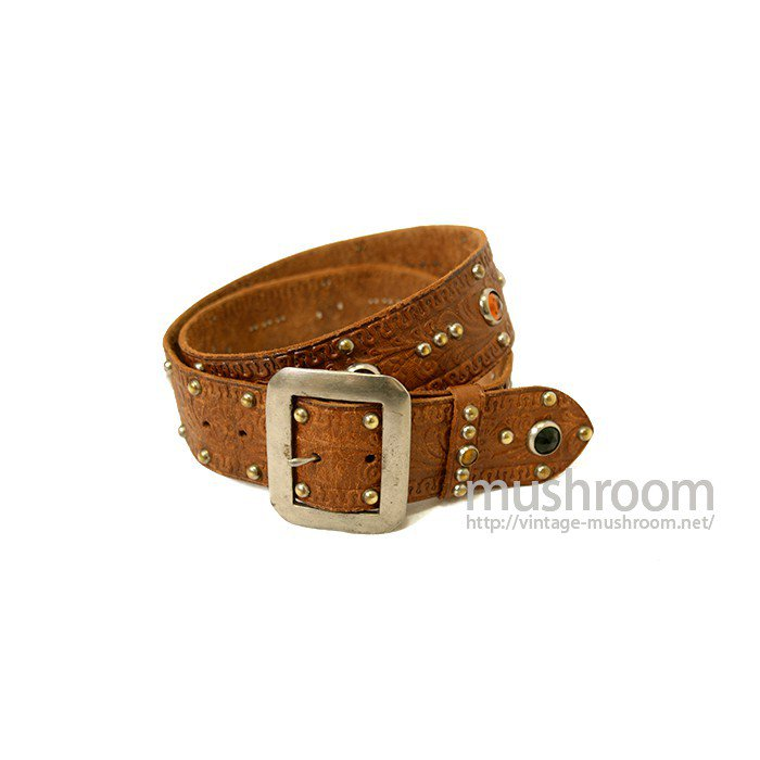 OLD STUDDED JEWEL LEATHER BELT