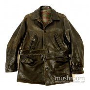 OLD SINGLE-BREASTED HORSEHIDE LEAER CAR COAT