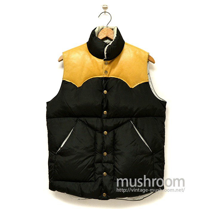 H BAR C BLACK NYLON×LETHER YORK DOWN VEST