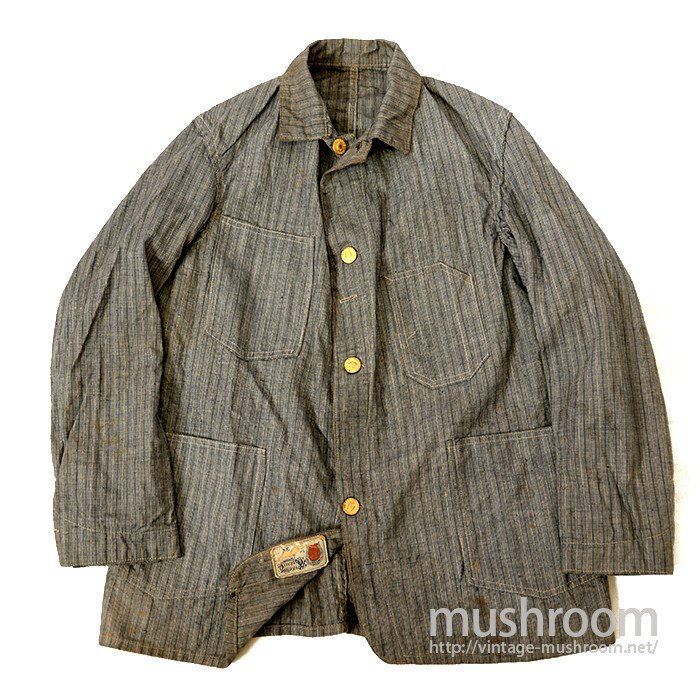 RIVERSIDE OVERALL CO  STRIPED PIN-CHECK ENGINEER JACKET( DEADSTOCK )