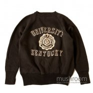 OLD COLLEGE FLOCK PRINT SWEAT SHIRT( BLACK/MINT )