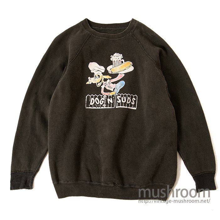 OLD COLOR FLOCK PRINT SWEAT SHIRT( BLACK )