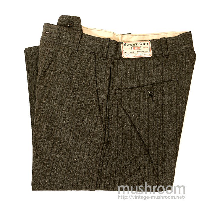 SWEET-ORR STRIPED COTTON WORK TROUSERS( DEADSTOCK )