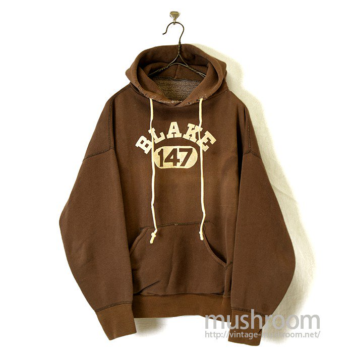 OLD COLLEGE FLOCK PRINT SWEAT HOODY( BROWN COLOR )