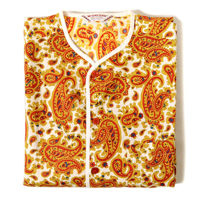 MCGREGOR PAISLEY PATTERN HENRY-NECK S/S SHIRT( MINT )