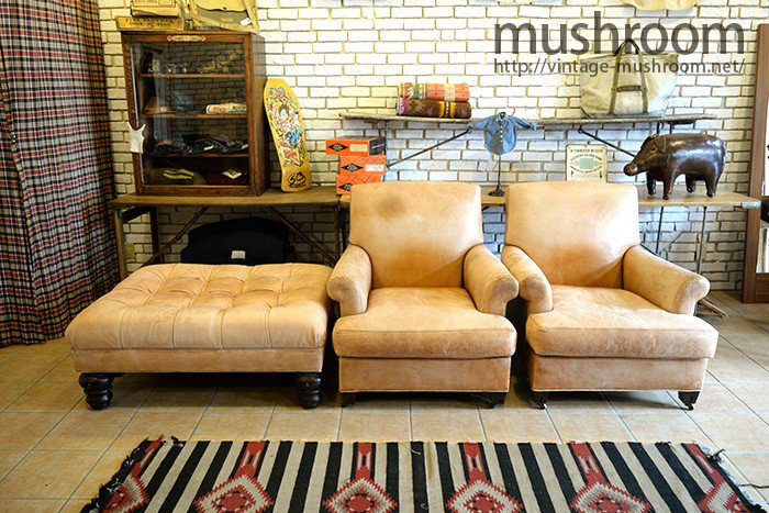 RALPH LAUREN  LEATHER ARMCHAIR & OTTOMAN