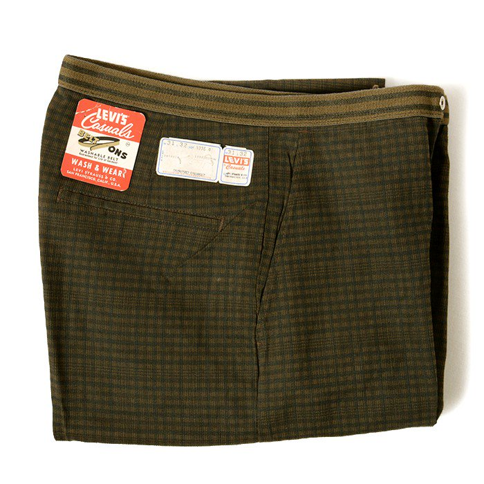 LEVI'S CASUALS PLAID COTTON TAPERED PANTS( W31/DEADSTOCK )