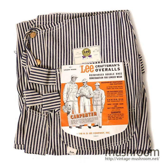 LEE W/KNEE EXPRESS-STRIPE OVERALLS WITH APRON( DEADSTOCK )