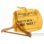 WESTERN UNION TELEGLAPH ADVERTISING WOOD HANGER & CANVAS BAG