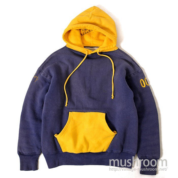W/FACE TWO-TONE SWEAT HOODY( BLUE AND YELLOW )