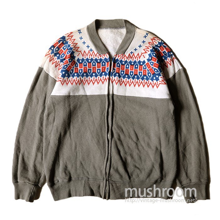 OLD SNOW PATTERN FULL-ZIP SWEAT SHIRT( MINT )