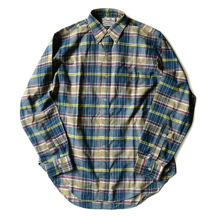RAMBLER MADRAS COTTON L/S BD SHIRT( MINT )