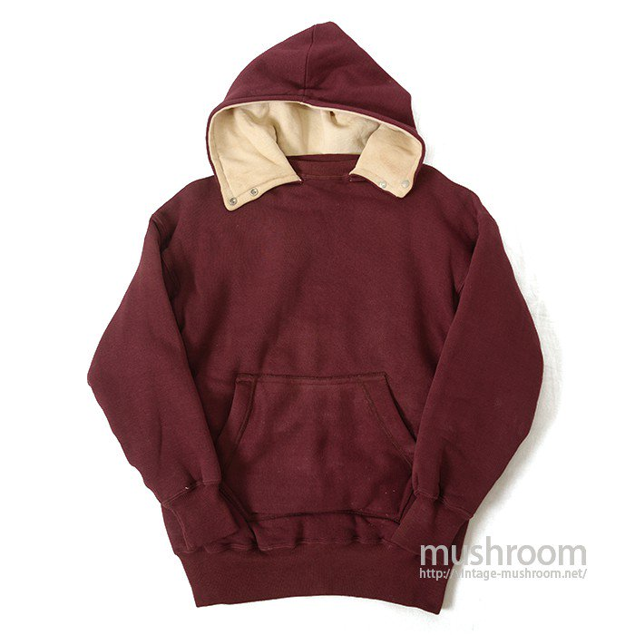 DOUBLE FACE AFTER HOODY SWEAT SHIRT WITH SNAP BUTTON( DEADSTOCK )