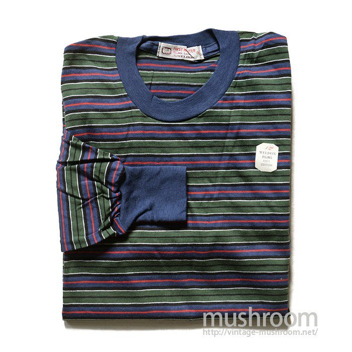 WELDON MULTI-COLOR STRIPE LONG SLEEVE TEE SHIRT( DEADSTOCK )