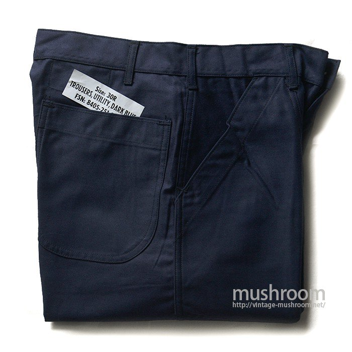 U.S.NAVY UTILITY DARK BLUE COTTON TROUSERS( DEADSTOCK )