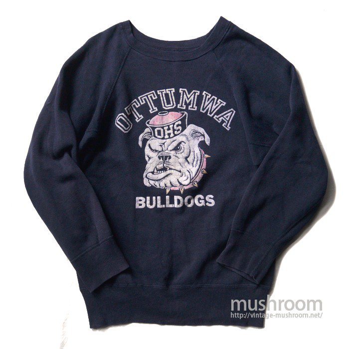 OLD COLLEGE FLOCKED PRINT SWEAT SHIRT( BULLDOG )