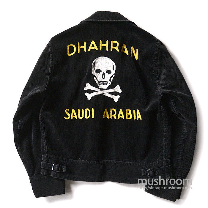 OLD BLACK CORDUROY SPORTS JACKET WITH SKULL EMBROIDERY