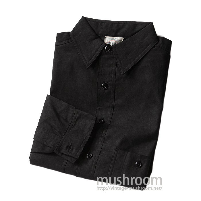 BIG YANK BLACK COTTON WORK SHIRT WITH CHINSTRAP( 15/DEADSTOCK )