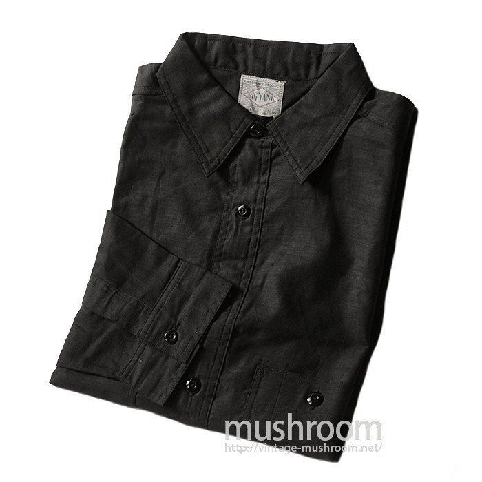 BIG YANK BLACK COTTON WORK SHIRT WITH CHINSTRAP( 15 1/2/DEADSTOCK )