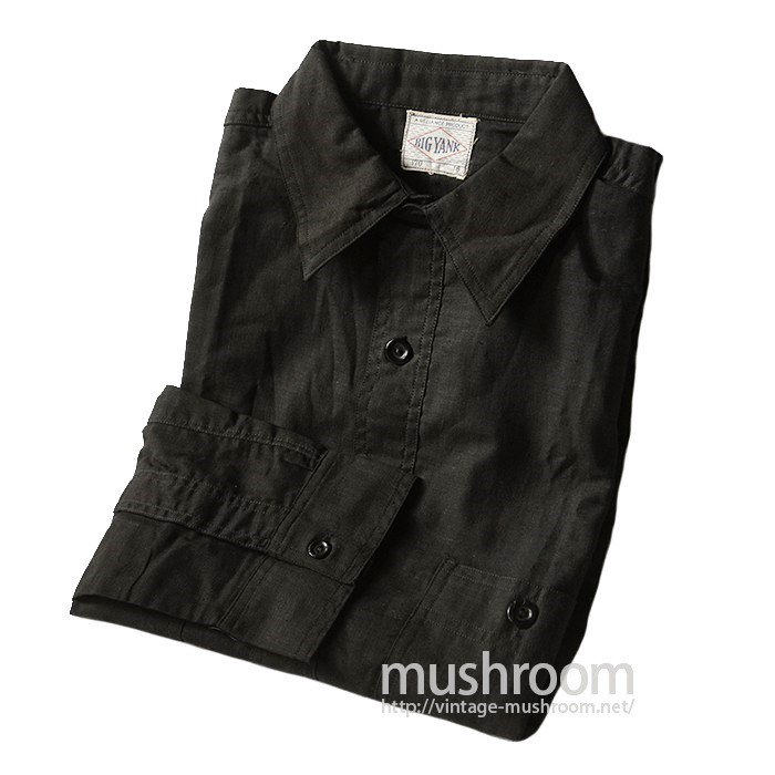 BIG YANK BLACK COTTON WORK SHIRT WITH CHINSTRAP( 16/DEADSTOCK )