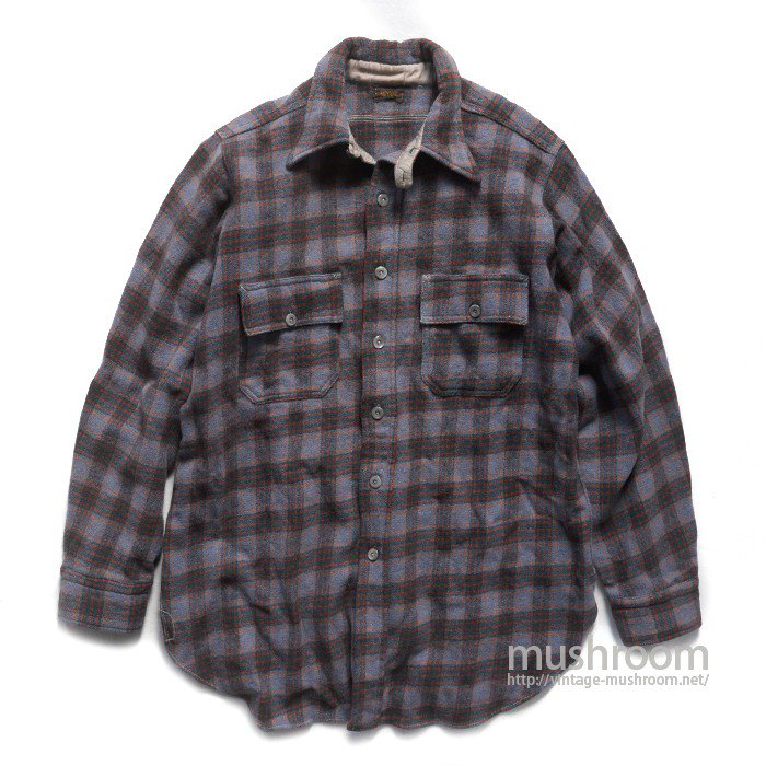 BIG YANK PLAID WOOL WORK SHIRT WITH CHINSTRAP
