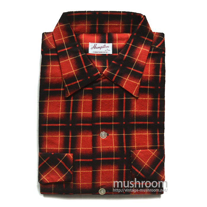 HAMPTON PLAID PRINT FLANNEL BOX SHIRT( DEADSTOCK )