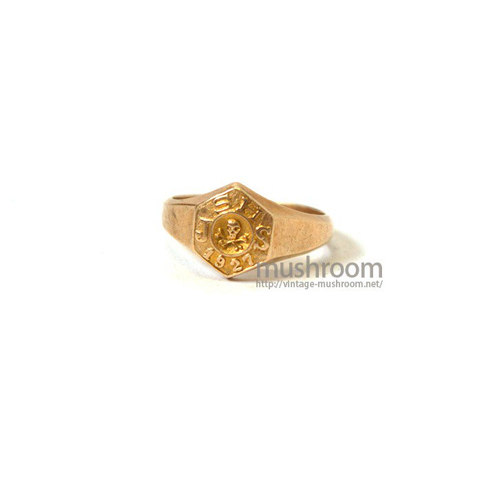 1927 10K COLLEGE RING WITH SKULL