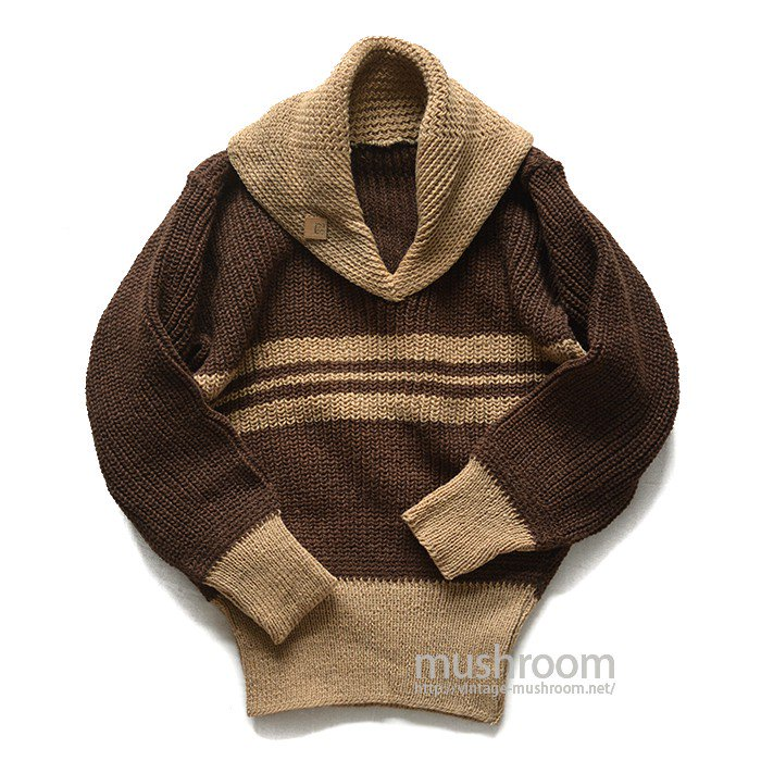 OLD TWO-TONE SHAWLCOLLER SWEATER( KID'S/DEADSTOCK )