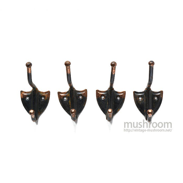 OLD JAPANNED COPPER SMALL HOOK( 4SET/A )