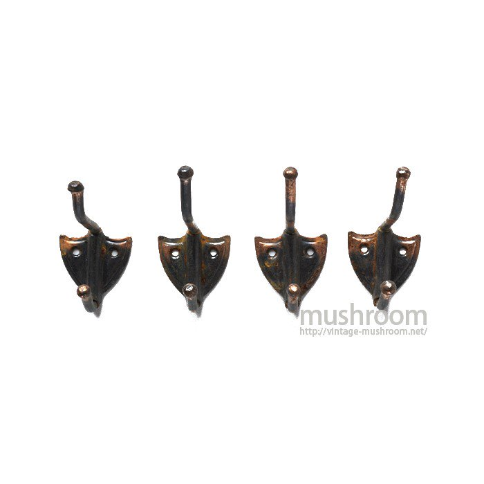 OLD JAPANNED COPPER SMALL HOOK( 4SET/B)