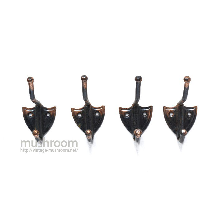 OLD JAPANNED COPPER SMALL HOOK( 4SET/C )