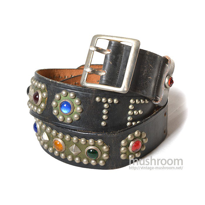 OLD STUDDED JEWEL BLACK LEATHER BELT( MINT )